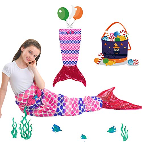 Kids Mermaid Tail Blanket with Scale Pattern,Gilrs Mermaid All Season Sleeping Blankets,Kids\' Bedding Toys Sleep Bags Comforter for Air Condition Sofa,Home,Travel,Camping Birthday Gifts (Candy)