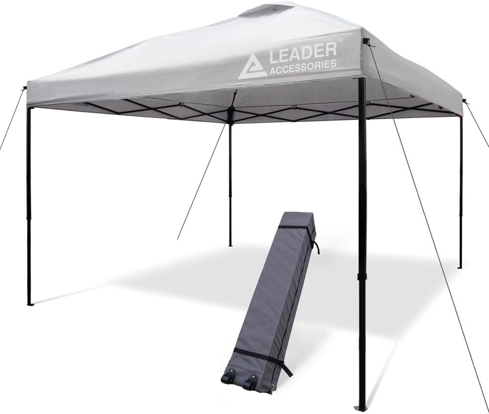 Leader Accessories Pop Up Canopy Tent 10 x10 Canopy Instant Canopy Shelter Straight Leg Including Wheeled Carry Bag, Silver