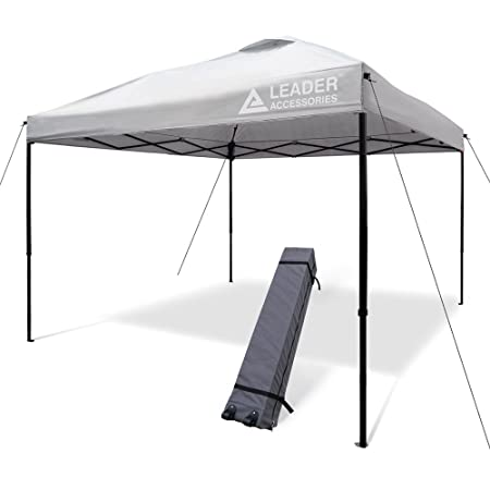 Leader Accessories 10 x10 Instant Canopy Pop Up Canopy Straight Wall Including Wheeled Carry Bag Silver