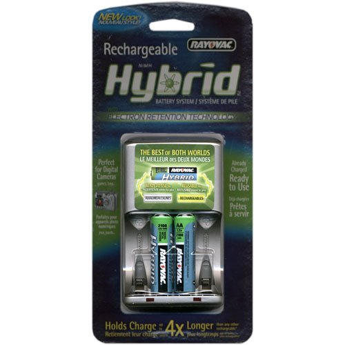- Rayovac Rechargeable Hybrid Charger, 4-position AA/AAA Hybrid Battery Charger With 2 AA Hybrid Batteries