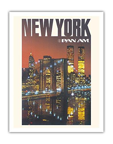 New York - Pan American World Airways - Brooklyn Bridge, Twin Towers - Vintage Airline Travel Poster c.1975 - Fine Art Print - 11in x 14in