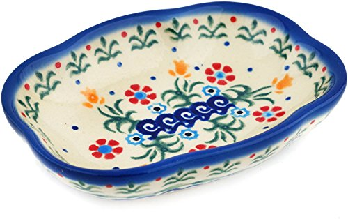 (Polish Pottery Soap Dish 5-inch Spring Flowers)