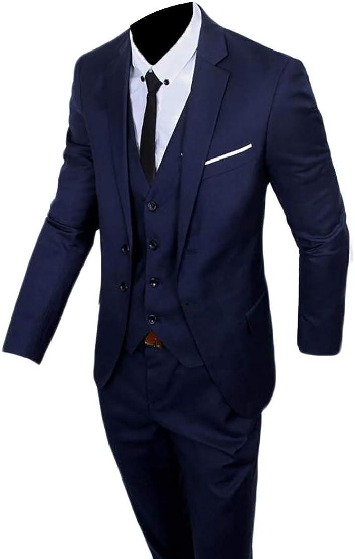 omniscient Mens Suit Blazer Jacket Slim Fit Tux Vest /& Trousers 3-Piece Suit Sets