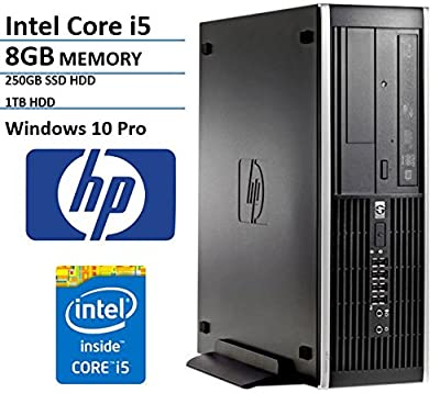 2016 New HP Elite Pro Slim Business Desktop Computer Small Form Factor (SFF) with Intel Quad-Core i5 3.1GHz, 8GB DDR3 RAM, 1TB HDD + 250GB SSD, DVD, Windows 10 Professional (Certified Refurbished)