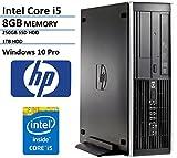 HP Elite Pro Slim Small Form Factor Business Desktop Computer (Intel Quad-Core i5 3.1GHz, 8GB DDR3 RAM, 1TB HDD, 250GB SSD, DVD, Windows 10 Professional) (Certified Refurbished)