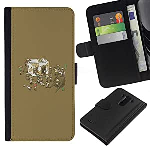 NEECELL GIFT forCITY // Billetera de cuero Caso Cubierta de protección Carcasa / Leather Wallet Case for LG G3 // Divertido de la fiesta mexicana