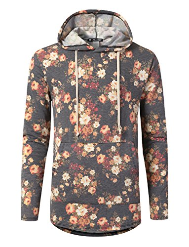 URBANCREWS Mens Hipster Hip Hop Floral Heathered French Terry Hoodie Black, 2XL