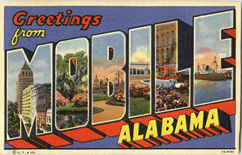 Greetings From Mobile Mobile, Alabama AL Original Vintage Postcard