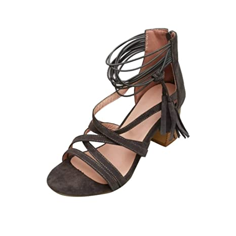 133b02a317b3 Image Unavailable. Image not available for. Color: Women Tassel High Heels  Lace-Up Sandals ...