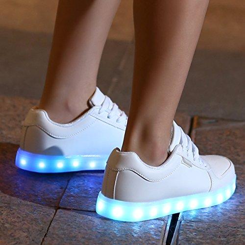 Adulto DoGeek Scarpe Luminosi Accendono Unisex Luci LED Scarpe Sportive Sneakers Le con Bianca 1R5RB