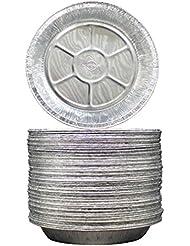 "MontoPack 9"" Aluminum Foil Pie Pans - Freezer & Oven Safe Disposable Aluminum Tin Foil - for Pie - Tart Baking, Cooking, Storage & Reheating - Pack of 50"