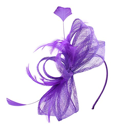 Hats Women 1940 (Felizhouse Sinamay Bow Veil Feather Fascinator Headband for Women Derby Party (#2 Purple))