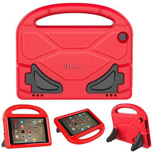 All-New Amazon Fire HD 8 Tablet Case,Riaour Kids Shock Proof Protective Cover Case for Amazon Fire HD 8 Tablet (6th Generation,2016 Release / 7th Generation,2017 Release) (Red 0)