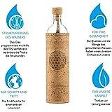 Design Spiritual Flower of Life 0,5 Liter - Flaska Trinkflasche Wasserflasche Glasflasche zum regelmäßigen Wassertrinken + 2 Korken