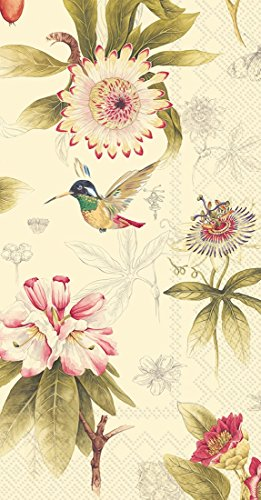 Ideal Home Range 16-Count 3-Ply Paper Guest Towel Napkins, Cream Hummingbird Blossoms