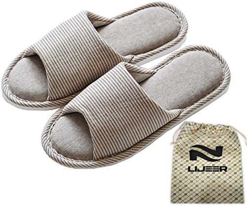 Open Memory Slide… Flax House Casual Toes Women Slippers House Cozy Gray Foam cross Striped Men Home Indoor Cotton Lijeer w0qORa0