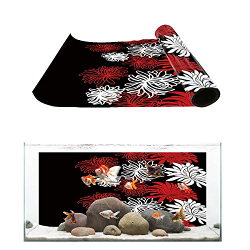 (T&H Home Aquarium Décor Backgrounds - Chrysanthemum Flower Painting Black White Red Fish Tank Background Aquarium Sticker Wallpaper Decoration Picture PVC Adhesive Poster, 36.4