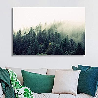 Canvas Wall Art - Pine Forest in The Mist - Giclee Print Gallery Wrap Modern Home Art Ready to Hang - 12x18 inches