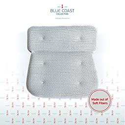 Blue Coast Collection Luxury Bath Pillow. Firm Neck and Shoulder Support with Super Soft Fibers and 6 Large Suction Cups. Non Slip bathtub pillow, Odor Resistant, Large Size and Quick Drying Mesh.