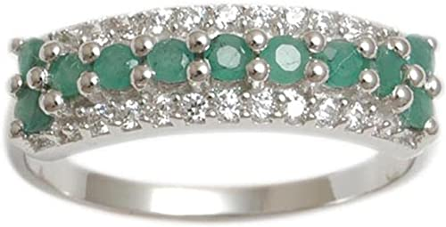 Banithani Emerald 925 Gemstone Finger Ring/  Silver Rings Wedding Women Jewelry