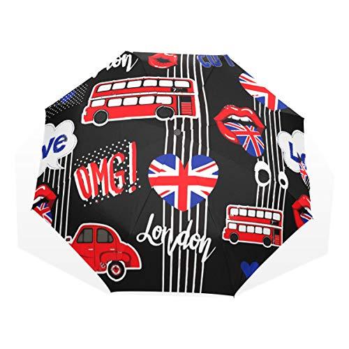 (Umbrella Abstract Union Jack Heart Car Travel Golf Sun Rain Windproof umbrellas with UV Protection for Kids Girls Boys)
