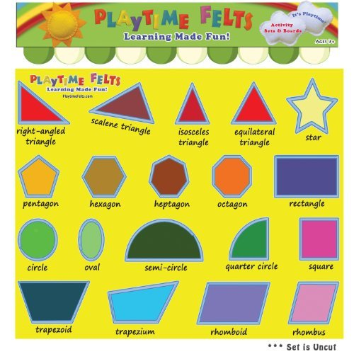 Fun Felt Shapes with Real Big Names Activity Flannel Board Set by Playtime Felts