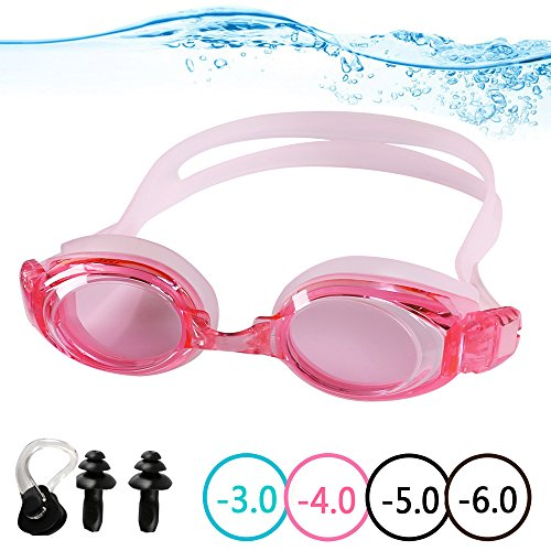 YINGNEW Optical Swimming Goggles Prescription Mirror Lens for Kids Youth Adults ,Soft and Comfortable Swim Goggles with Protective Case Nose Clip Ear Plugs and Interchangeable Nose Bridge - Pink