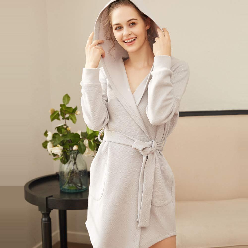 Vestaglia Donna Primavera Cotone Accappatoio A Maniche Lunghe Autunno con Cappuccio Sleepwear Cardigan Casa Camicia da Notte
