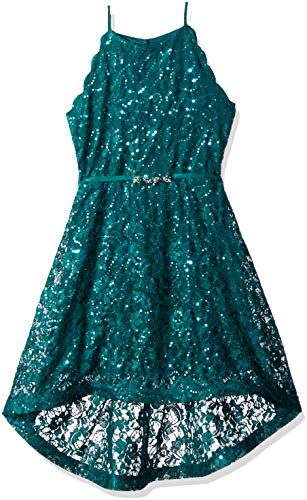 - Amy Byer Girls' Big Sequin Lace Maxi Dress, Emerald, 16