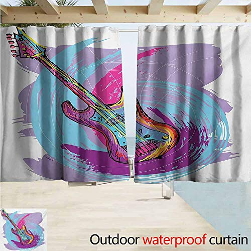 - AndyTours Rod Pocket Top Blackout Curtains/Drapes,Grunge Hand Drawn Electric Guitar with Motley Curved Grunge Effects Modern Music Icon,Room Darkening, Noise Reducing,W63x45L Inches,Pink Purple Blue
