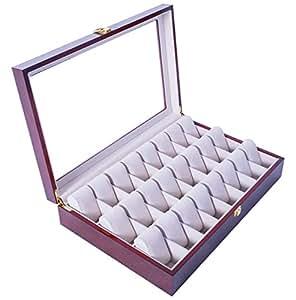 Feibrand Reloj de Madera Caja de Almacenaje para 24 Relojes