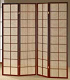 ADF 4-Panel Shoji Screen with Brown Fabric Inlay