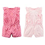 Carter's Set Of 2 Baby Girl's Shorts Rompers (12 Months, Pink White Stripe and Pink Dot Ruffle)