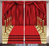 Digital Print Pub Decor Curtain Concert Theatre Stage Drapes Bedroom Living Kids Youth Room Modern Art Photo Curtain Two Panels Set 108 Inches Width X 84 Inches Length, Red Gold