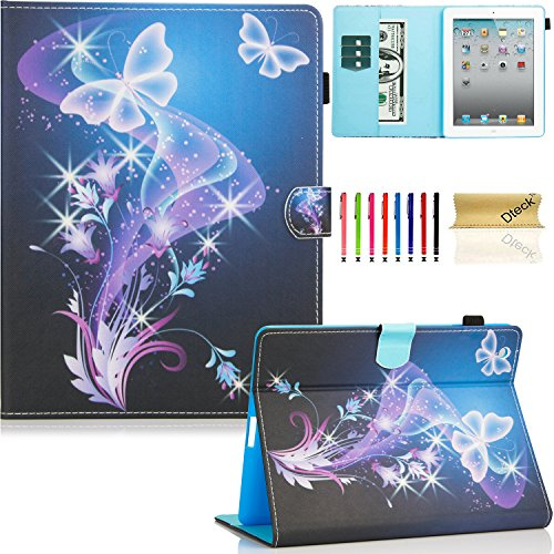 iPad Case, iPad 2/3/4 Case, Dteck(TM) PU Leather Stand Case Auto Sleep/Wake Function [Card Slot] Flip Folio Protective Shell Magnetic Closure Wallet Smart Cover for Apple iPad 2 3 4 - Purple Butterfly