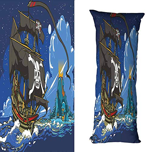 - DuckBaby Fashion Pillowcase Pirate Caribbean Waters Adventure Time Volcano with Sea Storm Skull Island Jolly Roger Suitable for Hair and Skin Health W19.5 xL59 Multicolor