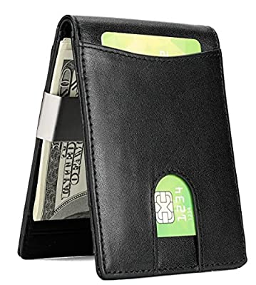 Wallet for Men Slim Genuine Leather Wallet with Money Clip ID Window and RFID Blocking