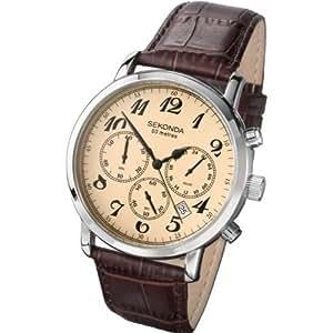 Sekonda 3462.27 - Reloj analógico de caballero de cuarzo con correa de acero inoxidable dorada - sumergible a 30 metros