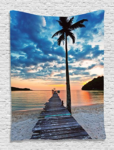 Ambesonne Pier Tapestry, Wooden Plank Grunge Jetty Through The Calm Ocean Tropic Palm Tree and Dramatic Sky, Wall Hanging for Bedroom Living Room Dorm, 60 W X 80 L Inches, ()