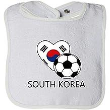 Cute Rascals Love Soccer Heart South Korea #2 Tot Contrast Trim Terry Bib