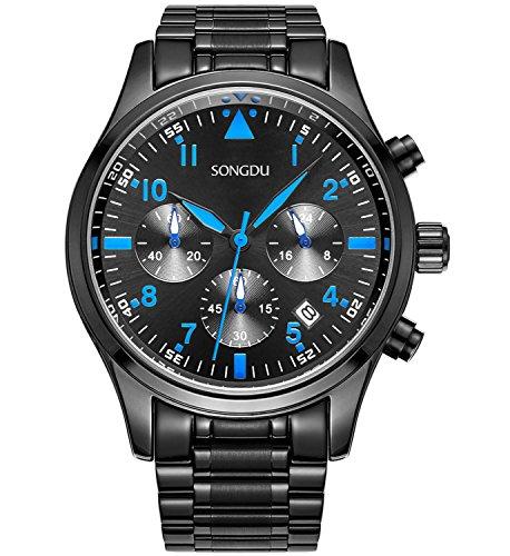 SONGDU Herren Quarz Armbanduhr Schwarz Edelstahl Armband Draussen Sport, Chronographen Analog Datum Blaue Zeiger