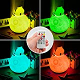 Winkeyes Silicone Night Light, RGB Touch Tap+ Remote Control LED Baby Night Lights Cute Moon Bear Night Lamp, Timing Off, Nursery Baby Dimmable Night Lamp for Bedroom, Children Kids Christmas Gifts