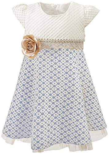 Lilax Little Girls' Sparkle Polka Dot Twirl Dress 9 Navy by Lilax