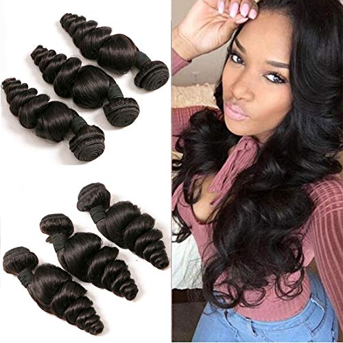 Peruvian Loose Wave Bundles Sew In Wet And Wavy Curly Human Hair Extensions Wholesale Virgin Hair 3 Bundles Short Curly Weave For Black Women Bulk Human Hair Bundles Natrual Color 10 12 14 Inch