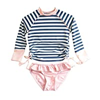 Little Girls Long Sleeve Rash Guard 2-Piece Swimsuit Set - with UPF 50+ Sun Protection -pink-130