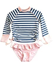 Jingle Bongala Little Girls Long Sleeve Rash Guard 2-Piece Swimsuit Set - with UPF 50+ Sun Protection