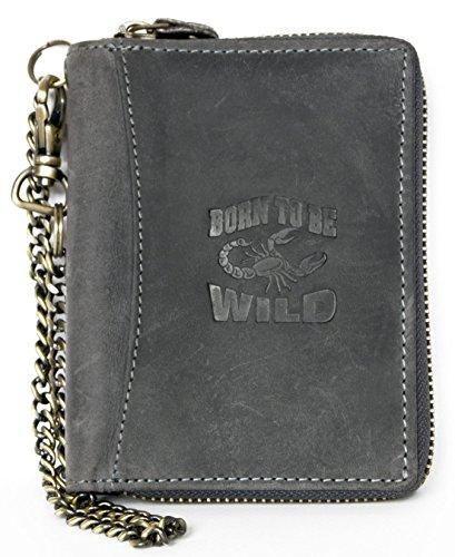 Men's Grey Metal Zip-around Large Genuine Leather Wallet Always Wild with - Grey Metal