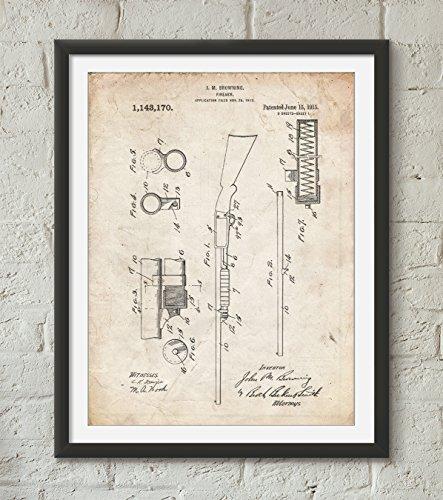 Ithaca Shotgun Model 37 Patent Art Color Blueprint Size 8x10