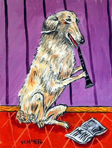 borzoi playing clarinet music room decor signed dog art print artwork ()