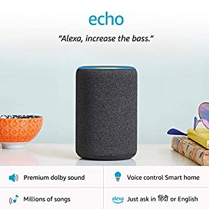 Amazon Echo (3rd Gen) – Improved sound, powered by Dolby (Black)